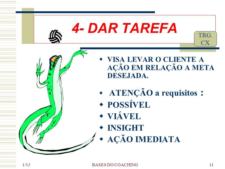 1/13 BASES DO COACHING11 4- DAR TAREFA  VISA LEVAR O CLIENTE A AÇÃO EM RELAÇÃO A META DESEJADA.