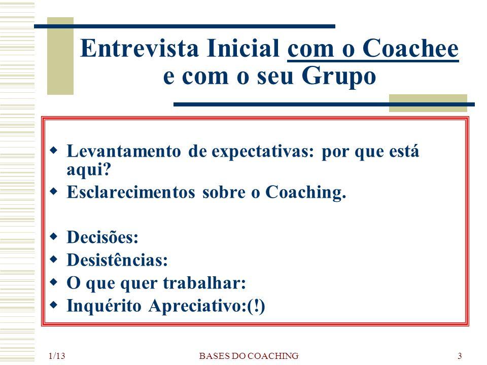 1/13 BASES DO COACHING3 Entrevista Inicial com o Coachee e com o seu Grupo LL evantamento de expectativas: por que está aqui.
