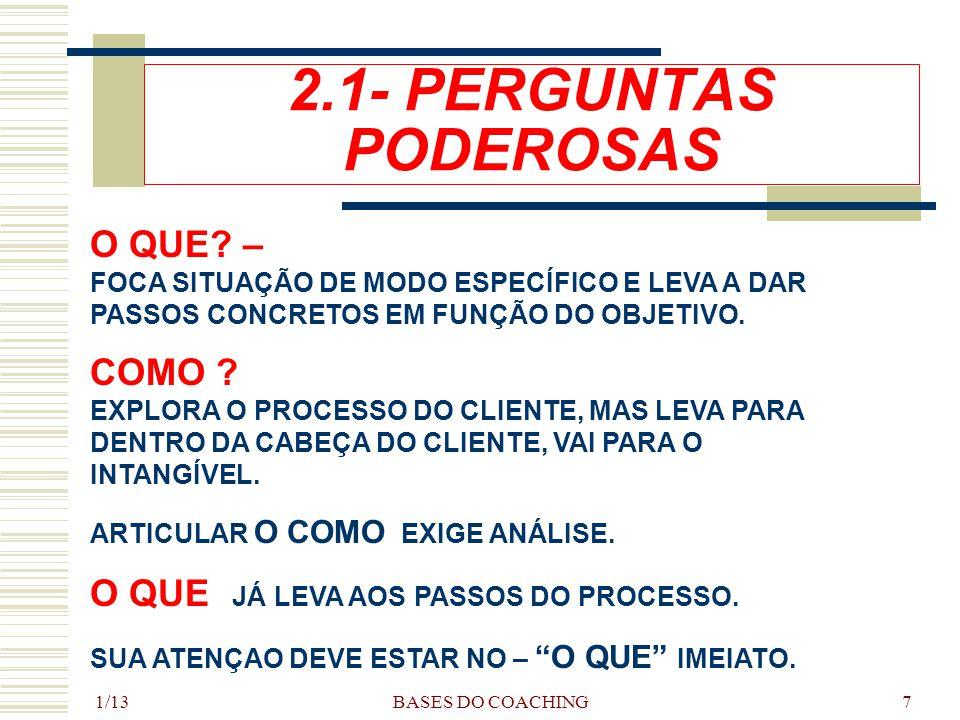 1/13 BASES DO COACHING7 2.1- PERGUNTAS PODEROSAS O QUE.