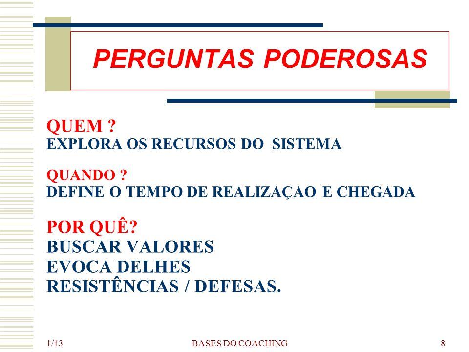 1/13 BASES DO COACHING8 PERGUNTAS PODEROSAS QUEM .