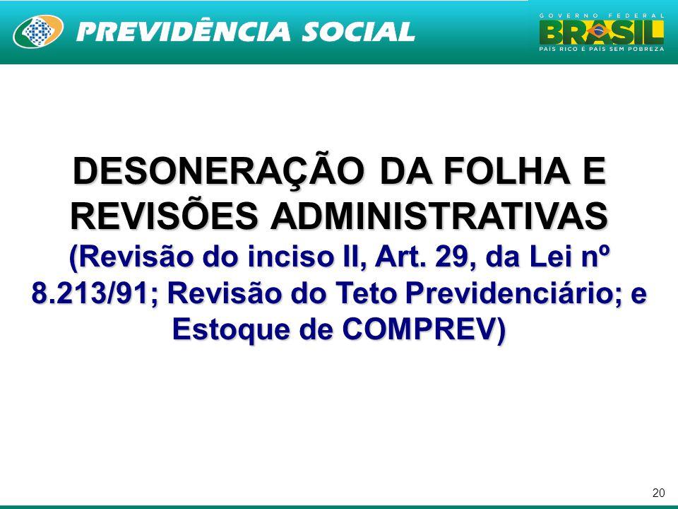 20 DESONERAÇÃO DA FOLHA E REVISÕES ADMINISTRATIVAS (Revisão do inciso II, Art.