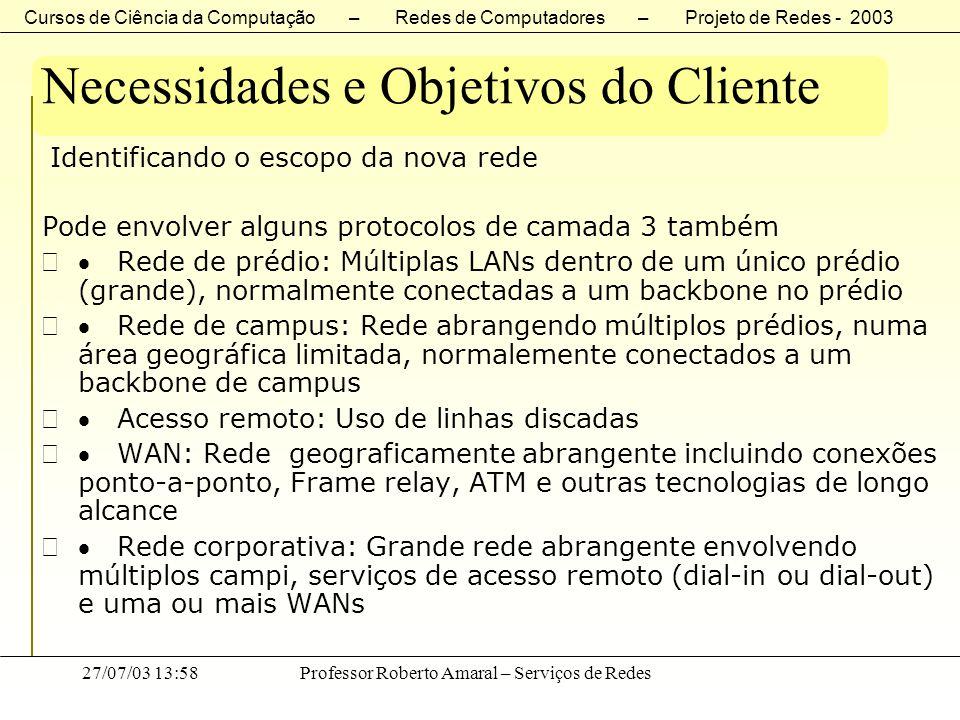 Cursos de Ciência da Computação – Redes de Computadores – Projeto de Redes - 2003 27/07/03 13:58Professor Roberto Amaral – Serviços de Redes Necessida