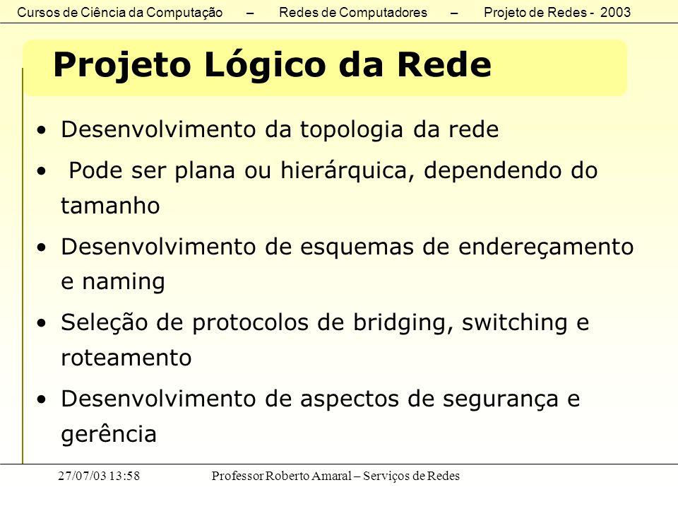 Cursos de Ciência da Computação – Redes de Computadores – Projeto de Redes - 2003 27/07/03 13:58Professor Roberto Amaral – Serviços de Redes Projeto L