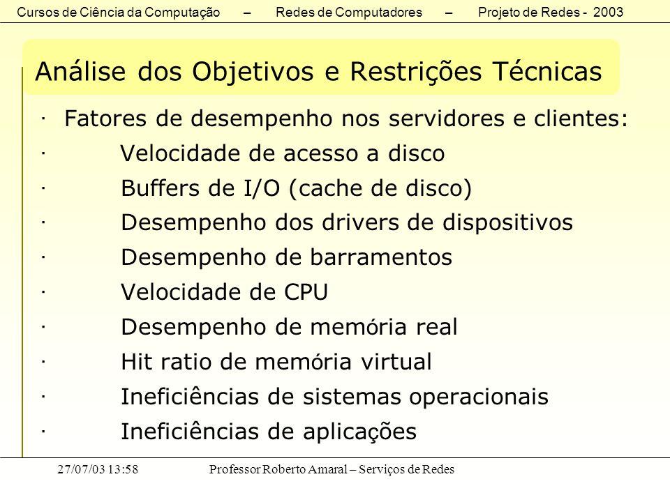 Cursos de Ciência da Computação – Redes de Computadores – Projeto de Redes - 2003 27/07/03 13:58Professor Roberto Amaral – Serviços de Redes Análise d