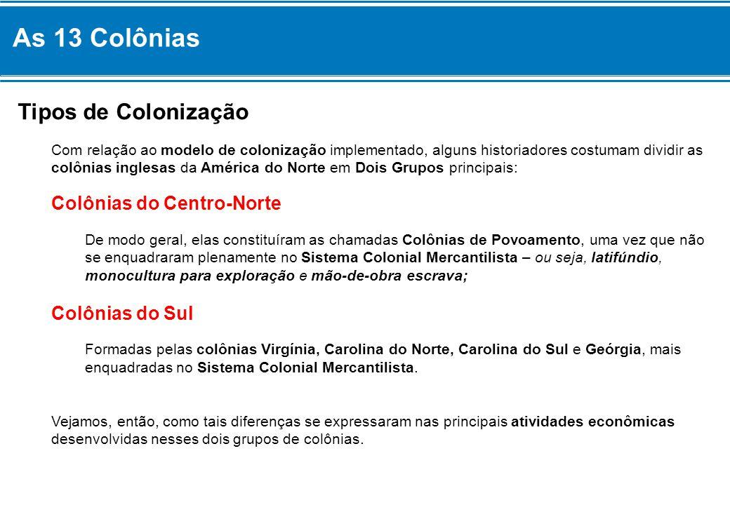 As 13 Colônias Tipos de Colonização Com relação ao modelo de colonização implementado, alguns historiadores costumam dividir as colônias inglesas da A