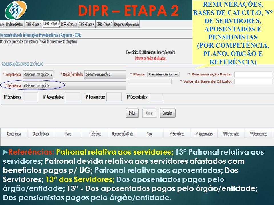 DIPR – ETAPA 2  Referências: Patronal relativa aos servidores; 13° Patronal relativa aos servidores; Patronal devida relativa aos servidores afastado