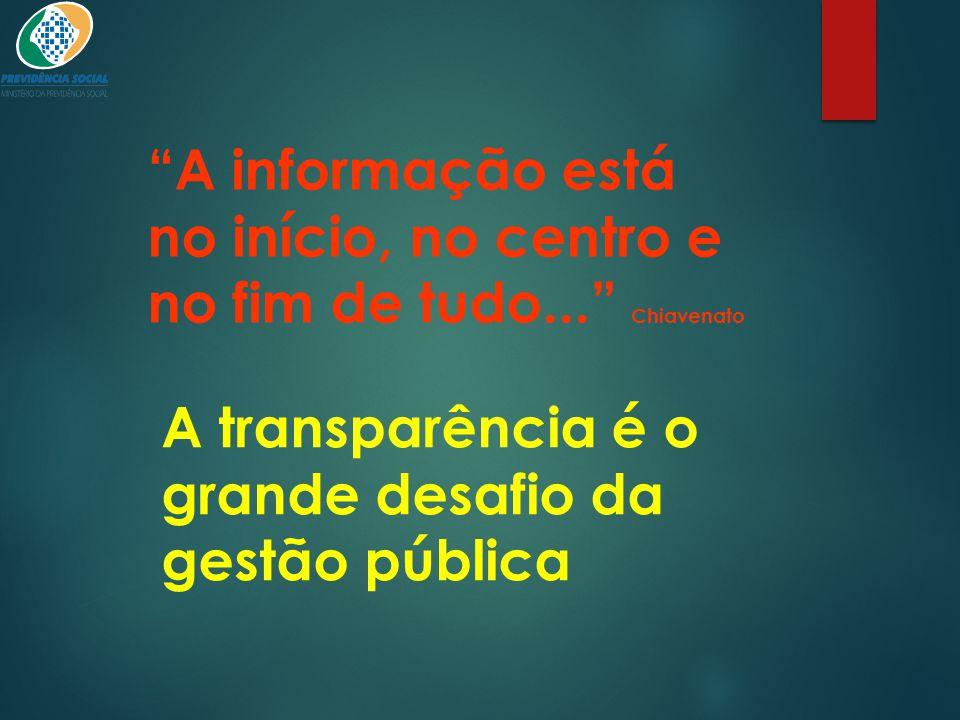 """""""A informação está no início, no centro e no fim de tudo..."""" Chiavenato A transparência é o grande desafio da gestão pública"""
