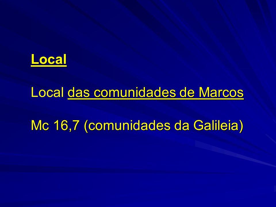 Local das comunidades de Marcos Local das comunidades de Marcos Mc 16,7 (comunidades da Galileia)