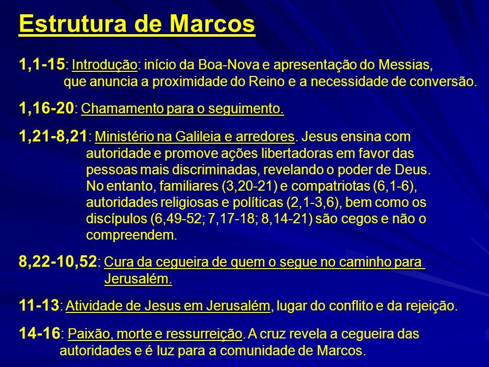Estrutura de Marcos Introdução 1,1-15 : Introdução: início da Boa-Nova e apresentação do Messias, que anuncia a proximidade do Reino e a necessidade d