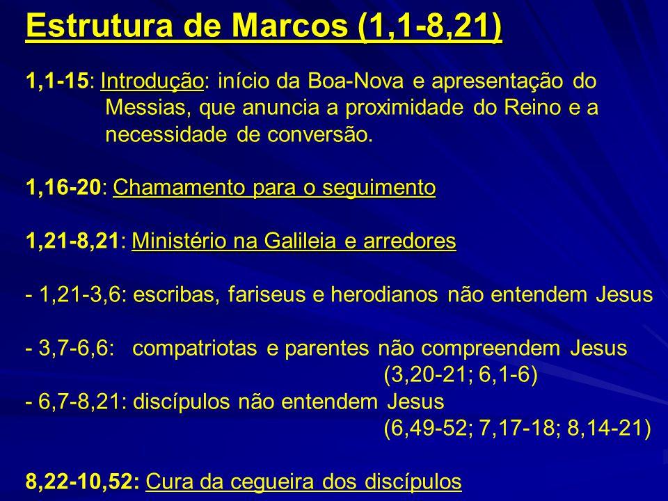 Estrutura de Marcos (1,1-8,21) Introdução 1,1-15: Introdução: início da Boa-Nova e apresentação do Messias, que anuncia a proximidade do Reino e a nec