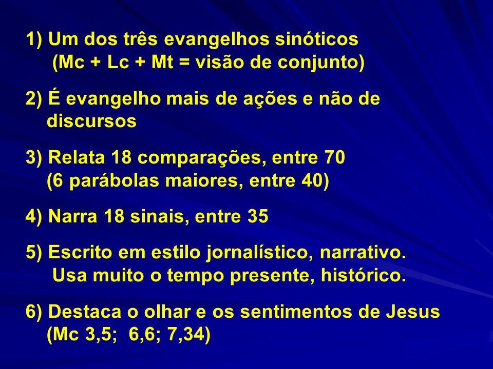 1) Um dos três evangelhos sinóticos (Mc + Lc + Mt = visão de conjunto) 2) É evangelho mais de ações e não de discursos 3) Relata 18 comparações, entre