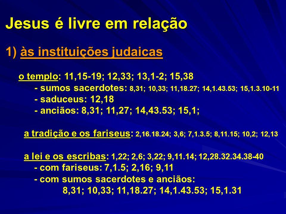 Jesus é livre em relação 1) às instituições judaicas o templo o templo: 11,15-19; 12,33; 13,1-2; 15,38 - sumos sacerdotes: 8,31; 10,33; 11,18.27; 14,1