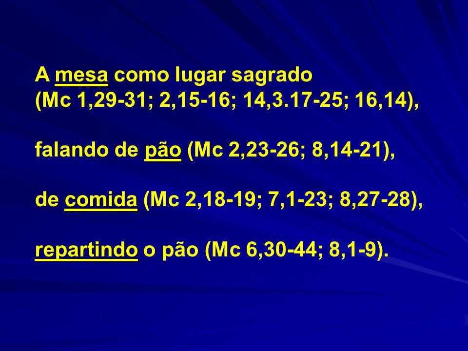 mesa A mesa como lugar sagrado (Mc 1,29-31; 2,15-16; 14,3.17-25; 16,14), pão falando de pão (Mc 2,23-26; 8,14-21), comida de comida (Mc 2,18-19; 7,1-2