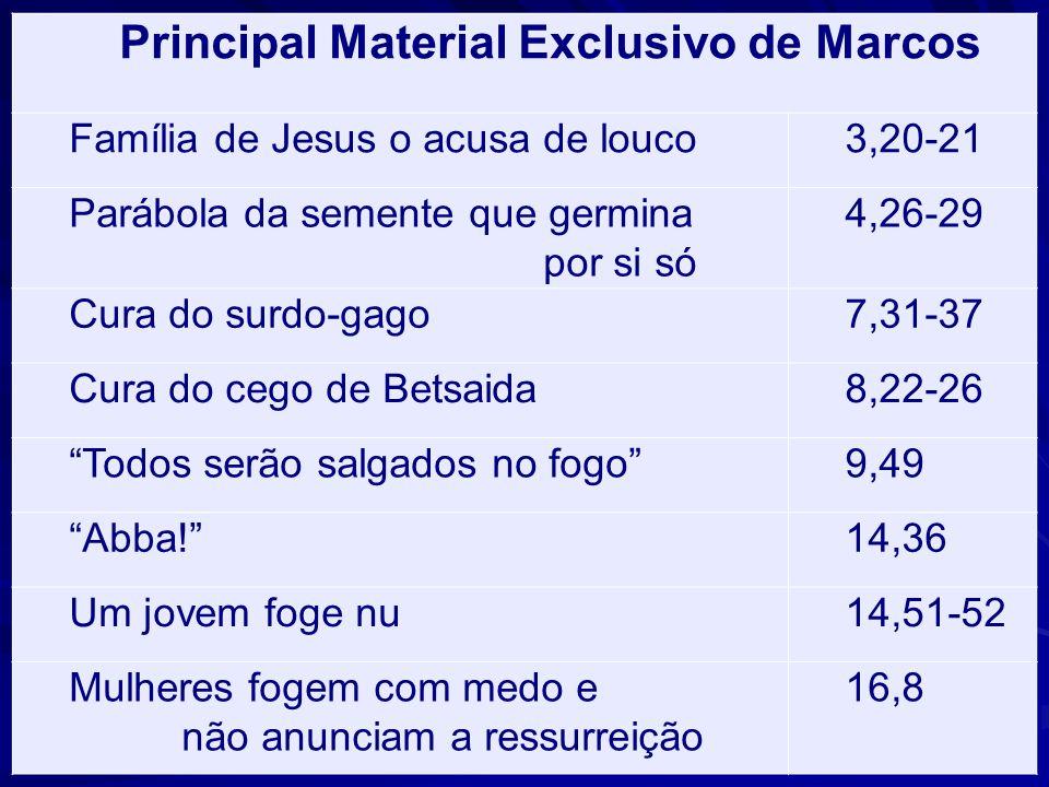 Principal Material Exclusivo de Marcos Família de Jesus o acusa de louco3,20-21 Parábola da semente que germina por si só 4,26-29 Cura do surdo-gago7,