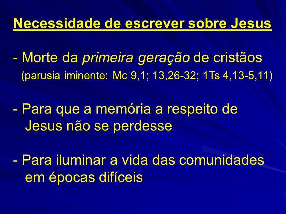 Esquema do Evangelho de Jesus segundo Marcos Introdução1,1-13 Início da boa-nova Preparar o anúncio Dobradiça1,14-15 1ª leitura 1,16-3,6 Cresce a boa-nova Aparece o conflito Dobradiça3,7-12 2ª leitura 3,13-6,6 Cresce o conflito Aparece o mistério Dobradiça6,7-13 3ª leitura 6,14-8,21 Cresce o mistério Aparece o não entender Dobradiça8,22-26 4ª leitura 8,27-10,45 Cresce o não entender Aparece a luz escura da cruz Dobradiça10,46-52 5ª leitura 11,1-13,32 Cresce a luz escura da cruz Aparecem a ruptura e a morte Dobradiça13,33-37 6ª leitura 14,1-15,39 Crescem a ruptura e a morte Aparece a vitória sobre a morte Dobradiça15,40-41 7ª leitura 15,42-16,8 Cresce a vitória sobre a morte Reaparece a boa-nova e tudo recomeça Apêndice16,9-20 (Fonte: Carlos Mesters e Francisco Orofino)