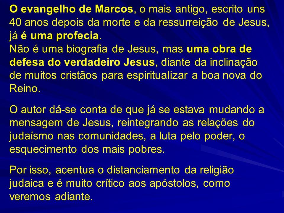 O evangelho de Marcos, o mais antigo, escrito uns 40 anos depois da morte e da ressurreição de Jesus, já é uma profecia. Não é uma biografia de Jesus,