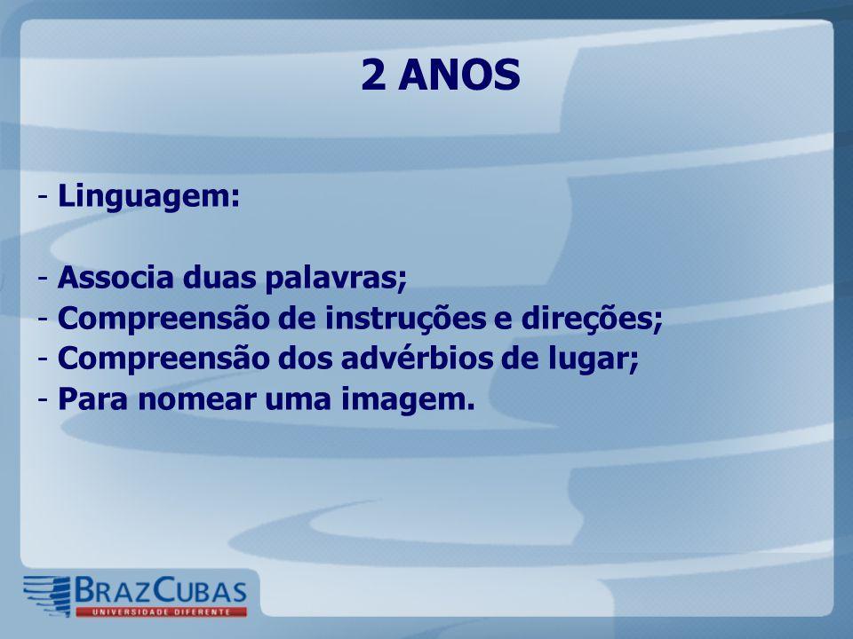 2 ANOS - Linguagem: - Associa duas palavras; - Compreensão de instruções e direções; - Compreensão dos advérbios de lugar; - Para nomear uma imagem.