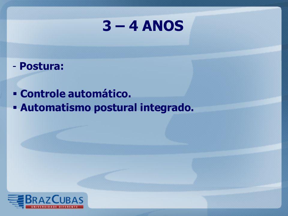 3 – 4 ANOS - Postura:  Controle automático.  Automatismo postural integrado.