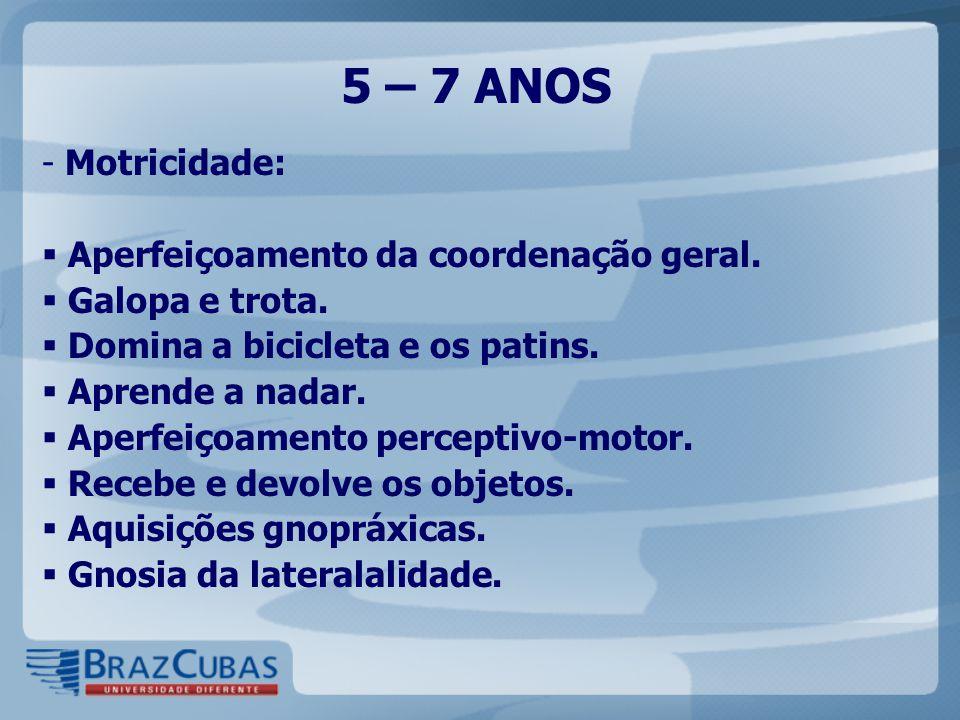 5 – 7 ANOS - Motricidade:  Aperfeiçoamento da coordenação geral.  Galopa e trota.  Domina a bicicleta e os patins.  Aprende a nadar.  Aperfeiçoam