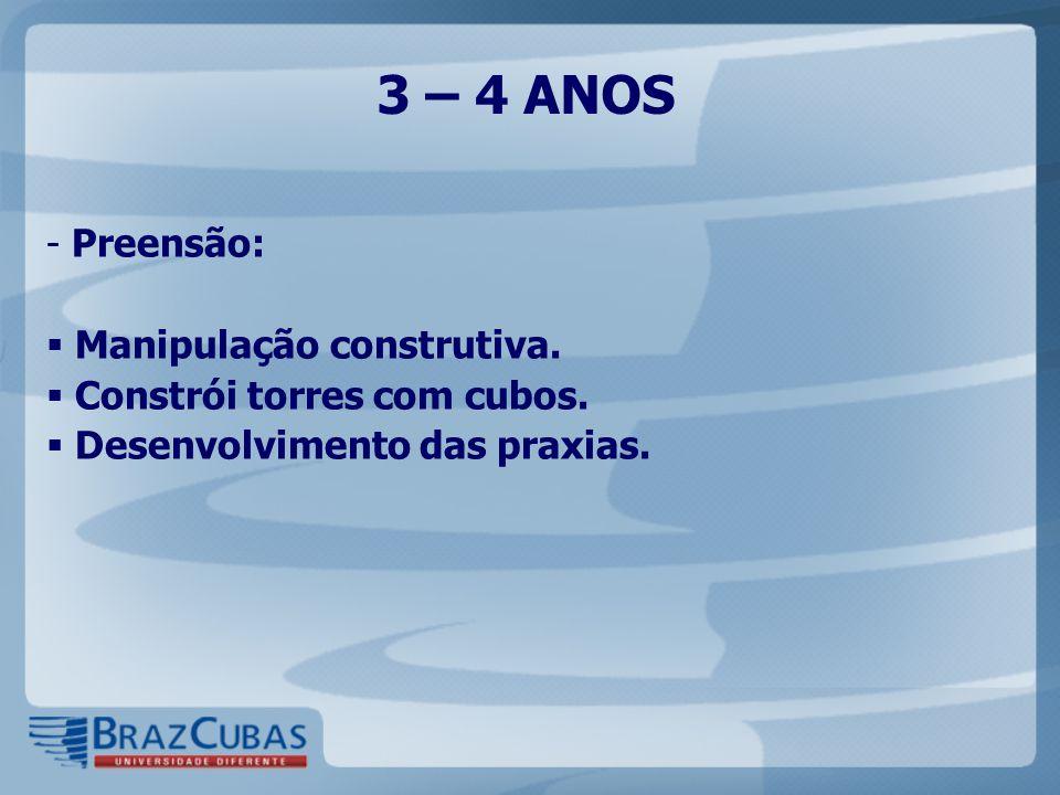 3 – 4 ANOS - Preensão:  Manipulação construtiva.  Constrói torres com cubos.  Desenvolvimento das praxias.