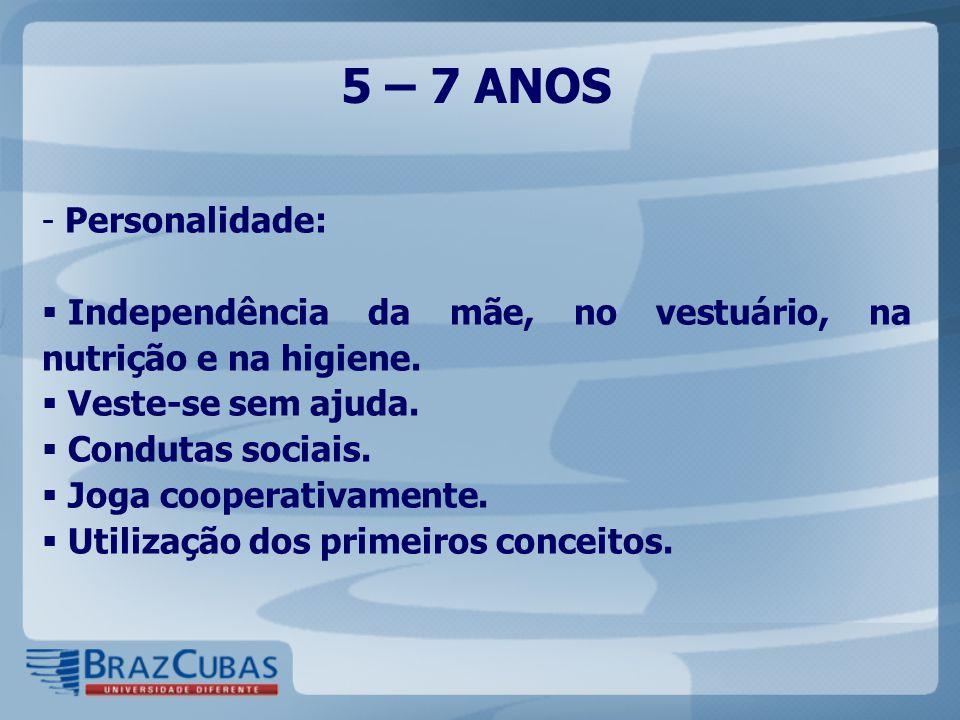 5 – 7 ANOS - Personalidade:  Independência da mãe, no vestuário, na nutrição e na higiene.  Veste-se sem ajuda.  Condutas sociais.  Joga cooperati