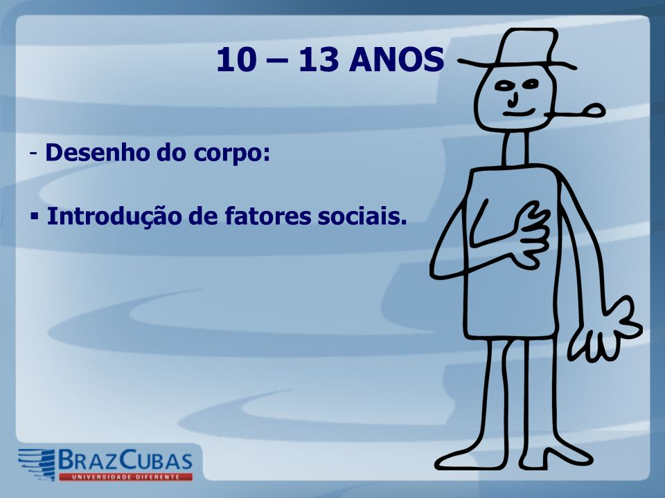10 – 13 ANOS - Desenho do corpo:  Introdução de fatores sociais.