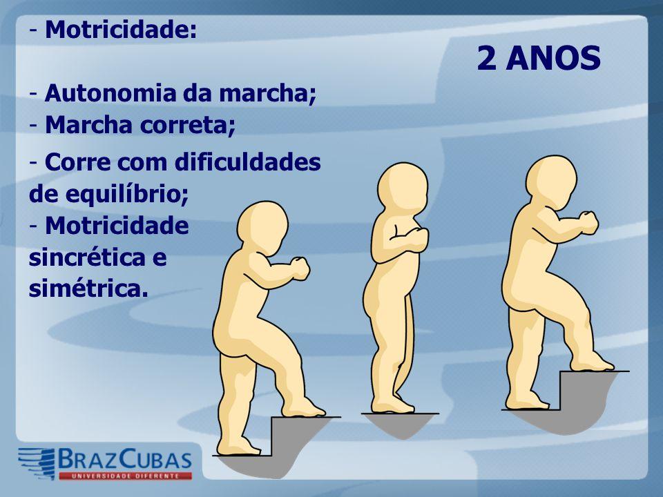 2 ANOS - Motricidade: - Autonomia da marcha; - Marcha correta; - Corre com dificuldades de equilíbrio; - Motricidade sincrética e simétrica.