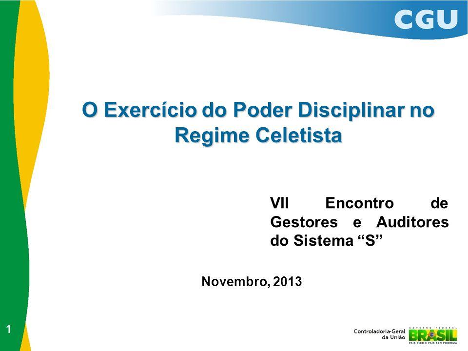 O Exercício do Poder Disciplinar no Regime Celetista VII Encontro de Gestores e Auditores do Sistema S Novembro, 2013 1