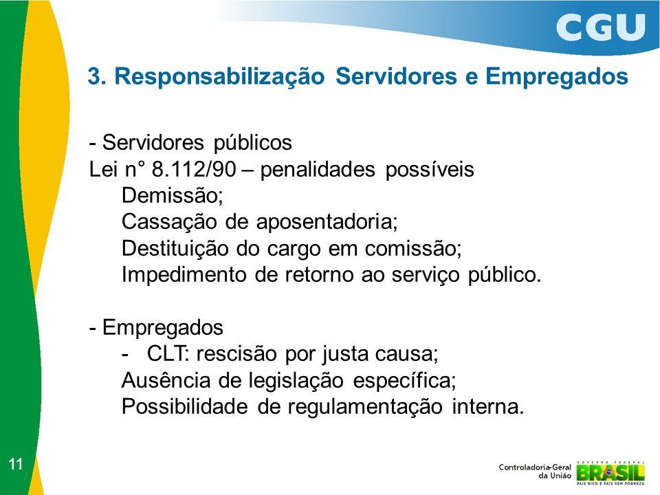 3. Responsabilização Servidores e Empregados - Servidores públicos Lei n° 8.112/90 – penalidades possíveis Demissão; Cassação de aposentadoria; Destit