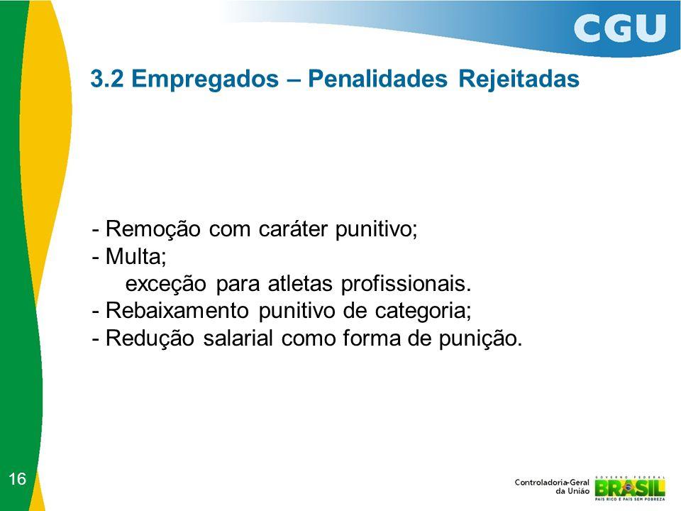 3.2 Empregados – Penalidades Rejeitadas - Remoção com caráter punitivo; - Multa; exceção para atletas profissionais. - Rebaixamento punitivo de catego