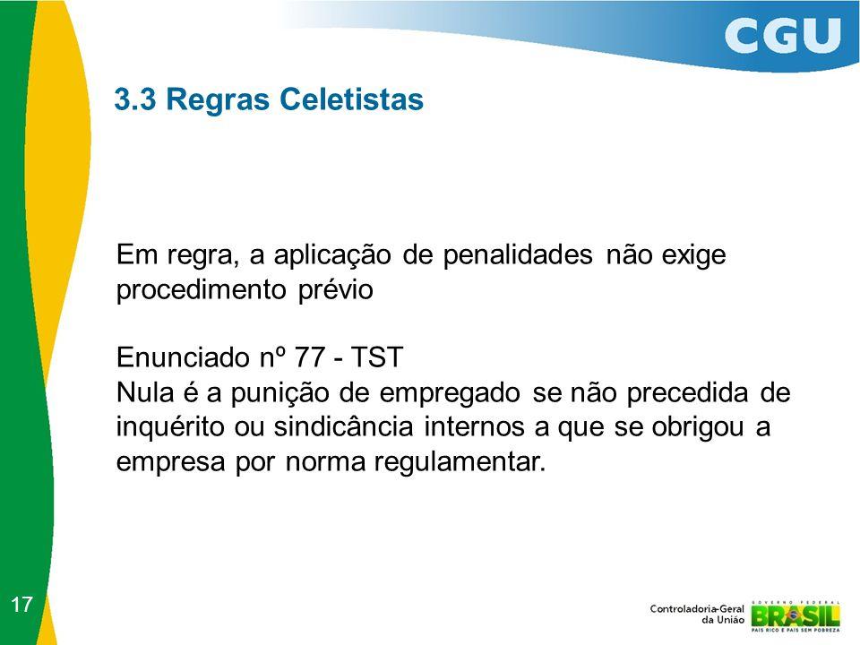 3.3 Regras Celetistas Em regra, a aplicação de penalidades não exige procedimento prévio Enunciado nº 77 - TST Nula é a punição de empregado se não pr