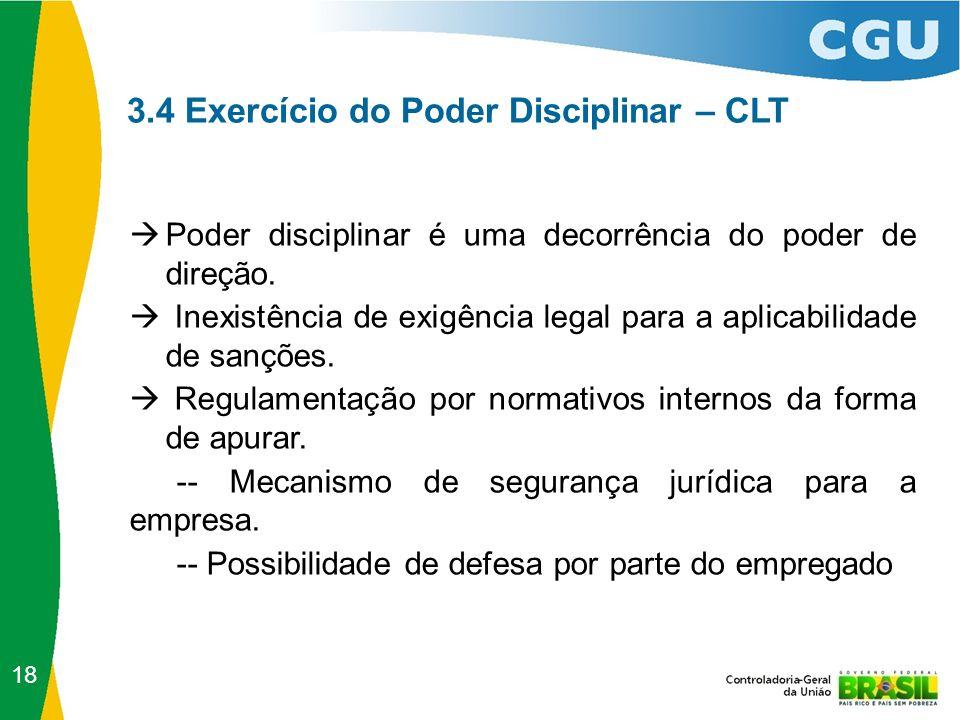 3.4 Exercício do Poder Disciplinar – CLT  Poder disciplinar é uma decorrência do poder de direção.  Inexistência de exigência legal para a aplicabil