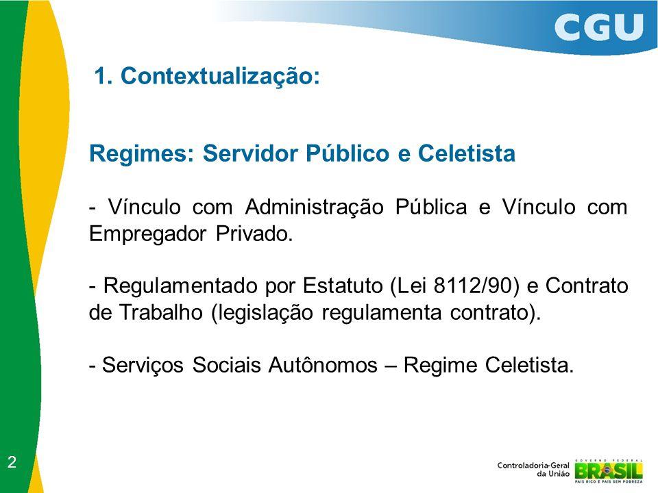 1. Contextualização: Regimes: Servidor Público e Celetista - Vínculo com Administração Pública e Vínculo com Empregador Privado. - Regulamentado por E
