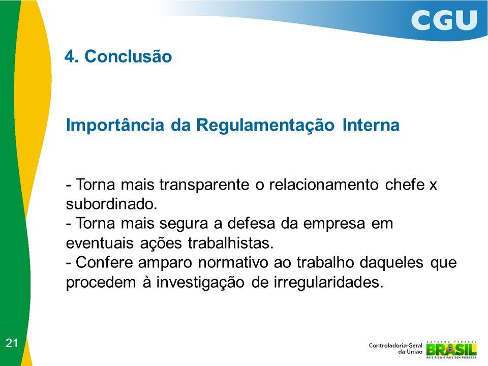 4. Conclusão Importância da Regulamentação Interna - Torna mais transparente o relacionamento chefe x subordinado. - Torna mais segura a defesa da emp