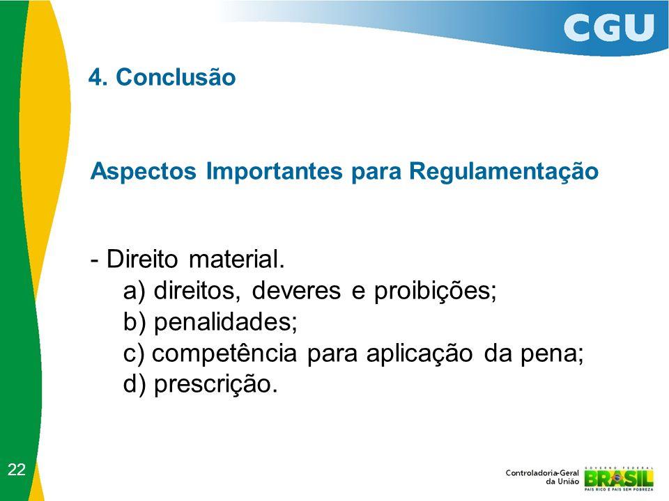 4. Conclusão Aspectos Importantes para Regulamentação - Direito material. a) direitos, deveres e proibições; b) penalidades; c) competência para aplic