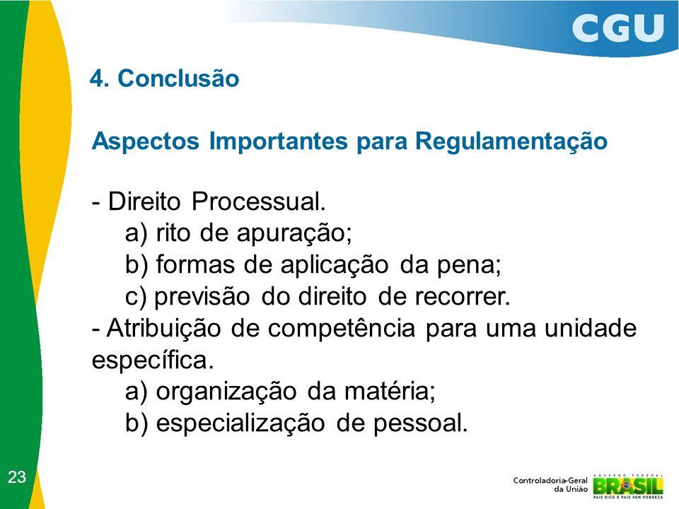 4. Conclusão Aspectos Importantes para Regulamentação - Direito Processual. a) rito de apuração; b) formas de aplicação da pena; c) previsão do direit