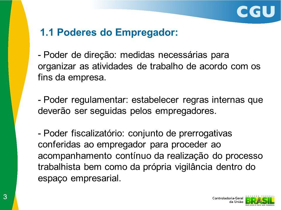 1.1 Poderes do Empregador: - Poder de direção: medidas necessárias para organizar as atividades de trabalho de acordo com os fins da empresa. - Poder