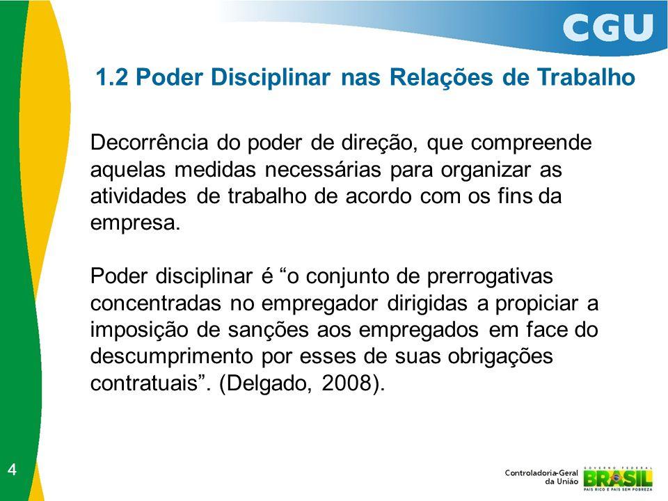 1.2 Poder Disciplinar nas Relações de Trabalho Decorrência do poder de direção, que compreende aquelas medidas necessárias para organizar as atividades de trabalho de acordo com os fins da empresa.