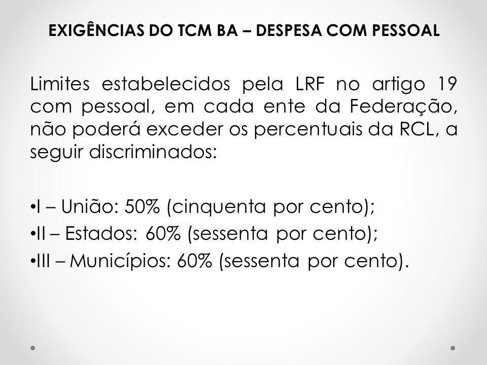 EXIGÊNCIAS DO TCM BA – DESPESA COM PESSOAL Limites estabelecidos pela LRF no artigo 19 com pessoal, em cada ente da Federação, não poderá exceder os p