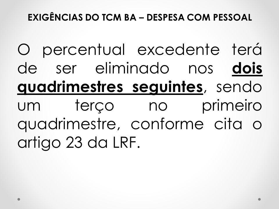 EXIGÊNCIAS DO TCM BA – DESPESA COM PESSOAL O percentual excedente terá de ser eliminado nos dois quadrimestres seguintes, sendo um terço no primeiro q