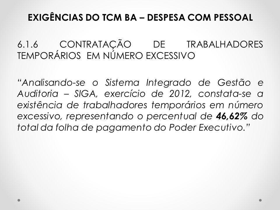 """EXIGÊNCIAS DO TCM BA – DESPESA COM PESSOAL 6.1.6 CONTRATAÇÃO DE TRABALHADORES TEMPORÁRIOS EM NÚMERO EXCESSIVO """"Analisando-se o Sistema Integrado de Ge"""