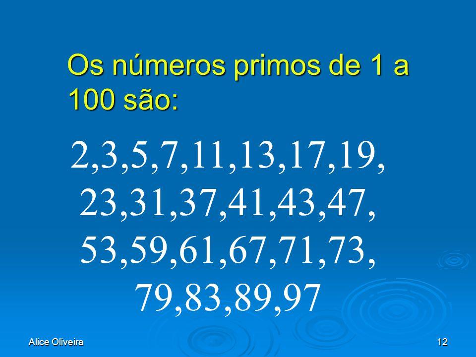 Alice Oliveira12 Os números primos de 1 a 100 são: 2,3,5,7,11,13,17,19, 23,31,37,41,43,47, 53,59,61,67,71,73, 79,83,89,97