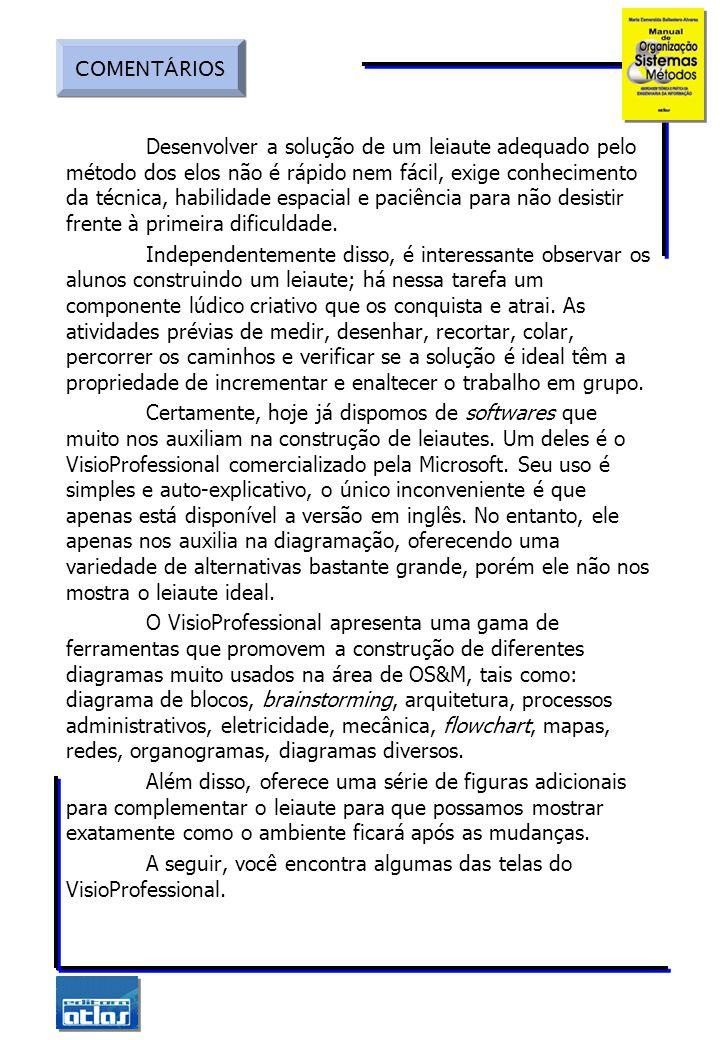 COMENTÁRIOS Tela principal de seleção de diagramas. Leiaute de um escritório em VisioProfessional.
