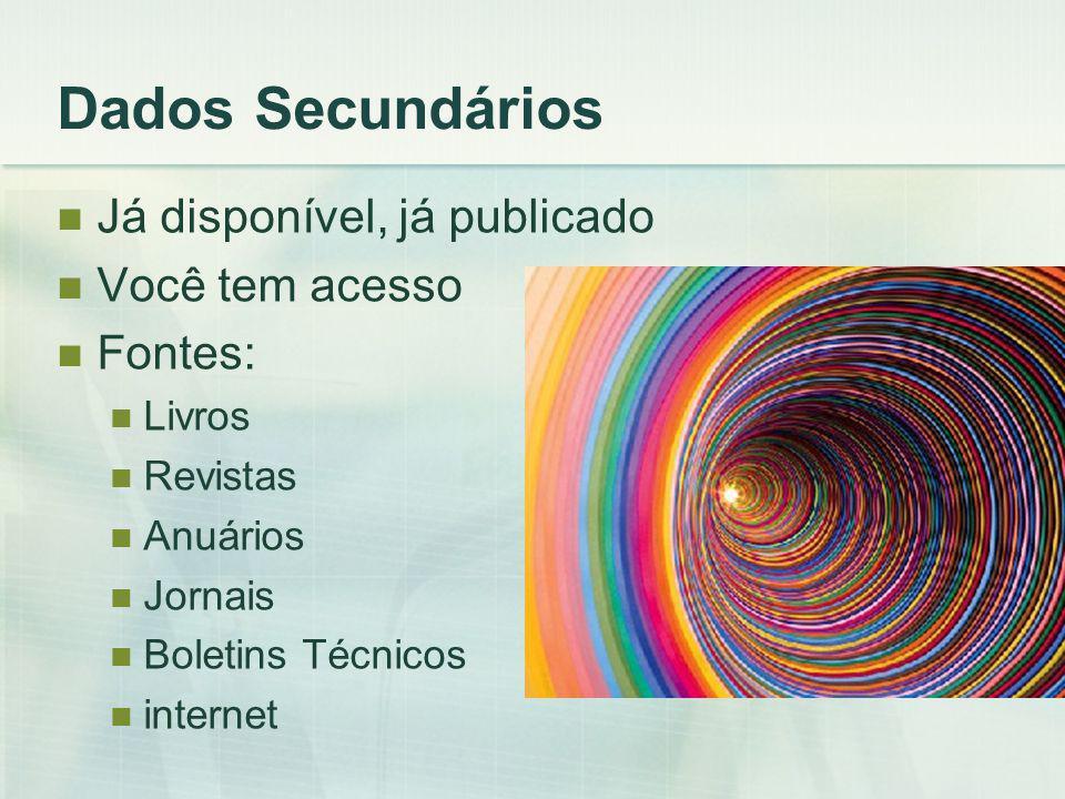 Dados Secundários Já disponível, já publicado Você tem acesso Fontes: Livros Revistas Anuários Jornais Boletins Técnicos internet