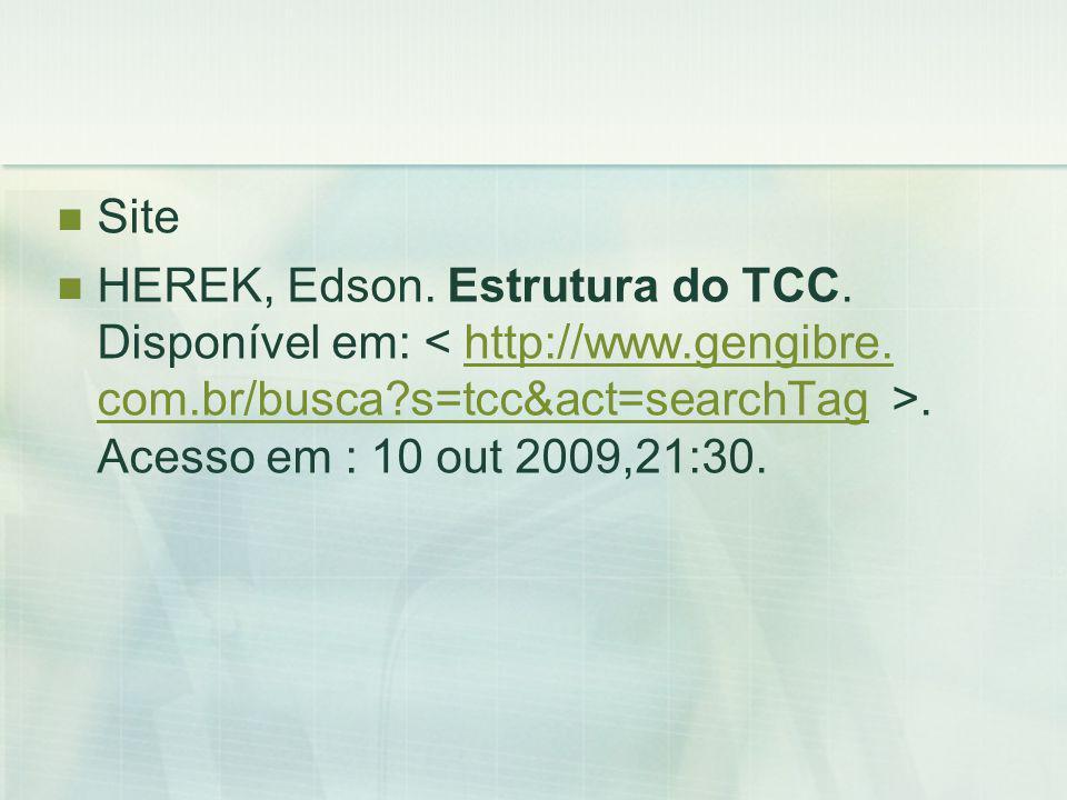 Site HEREK, Edson. Estrutura do TCC. Disponível em:.