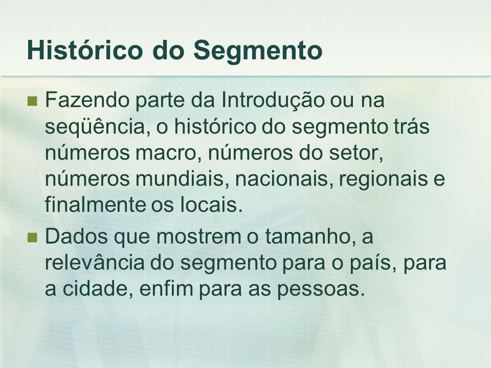 Histórico do Segmento Fazendo parte da Introdução ou na seqüência, o histórico do segmento trás números macro, números do setor, números mundiais, nacionais, regionais e finalmente os locais.