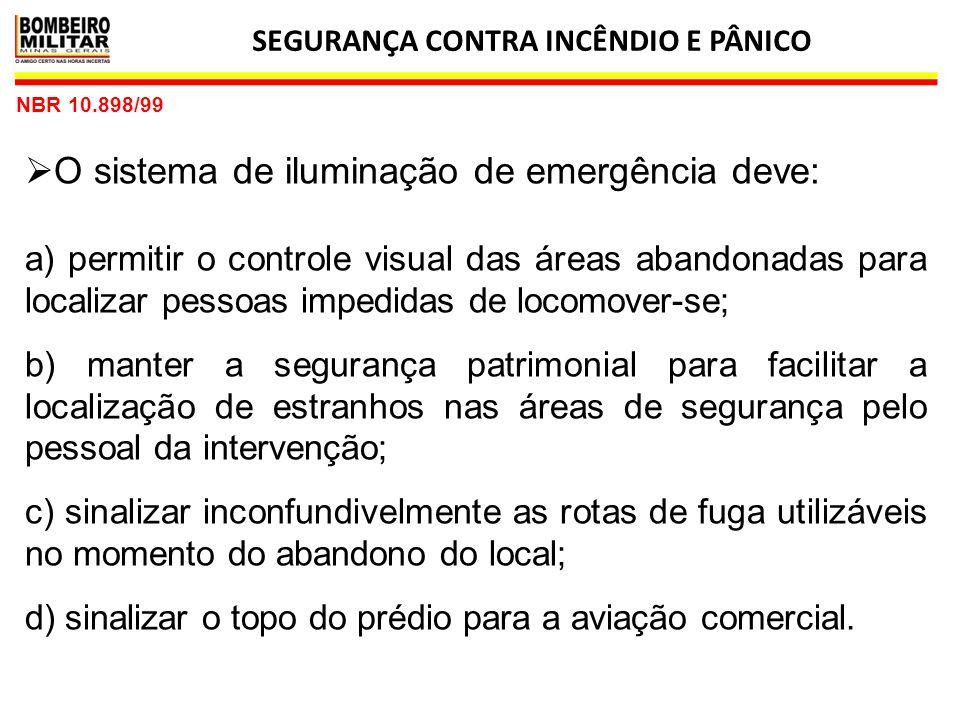SEGURANÇA CONTRA INCÊNDIO E PÂNICO 7 NBR 10.898/99 3.10 iluminação de ambiente ou aclaramento:  Iluminação com intensidade suficiente para garantir a saída segura de todas as pessoas do local em caso de emergência.