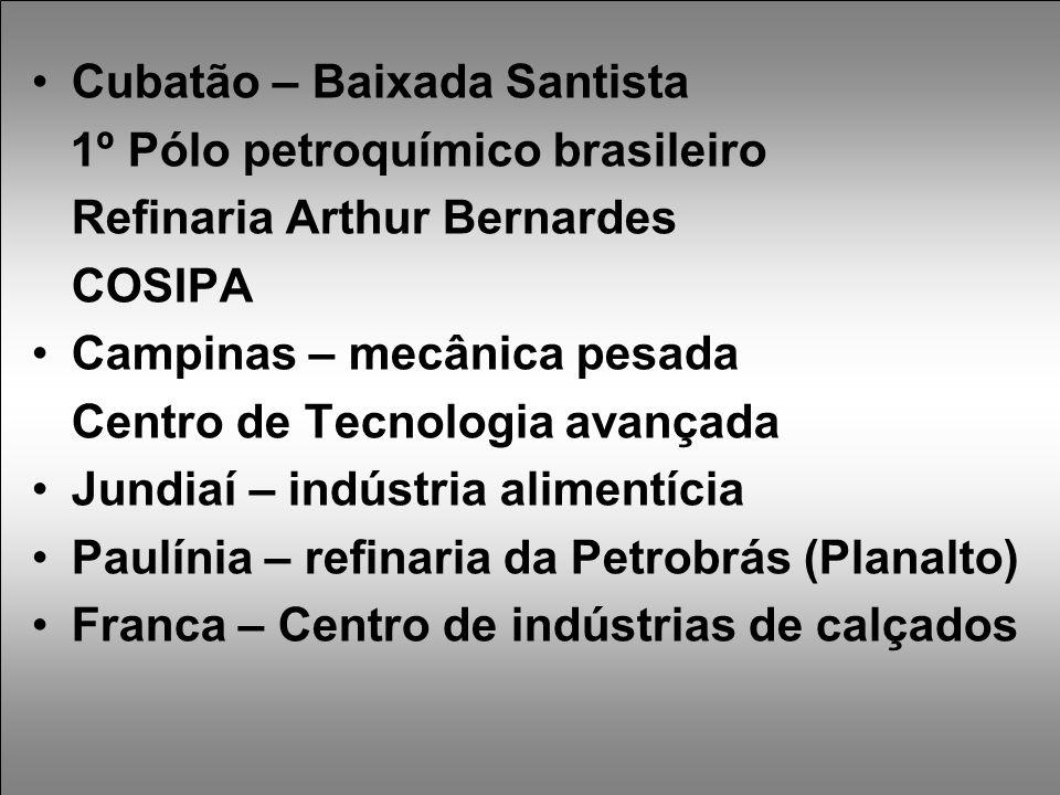 Cubatão – Baixada Santista 1º Pólo petroquímico brasileiro Refinaria Arthur Bernardes COSIPA Campinas – mecânica pesada Centro de Tecnologia avançada Jundiaí – indústria alimentícia Paulínia – refinaria da Petrobrás (Planalto) Franca – Centro de indústrias de calçados