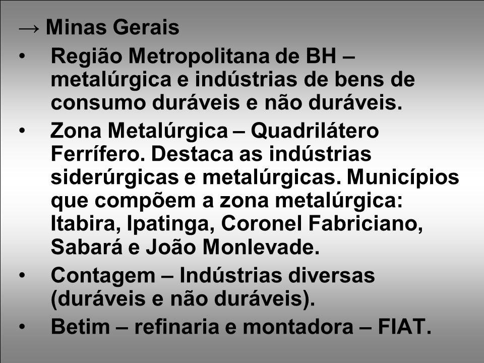 → Minas Gerais Região Metropolitana de BH – metalúrgica e indústrias de bens de consumo duráveis e não duráveis.