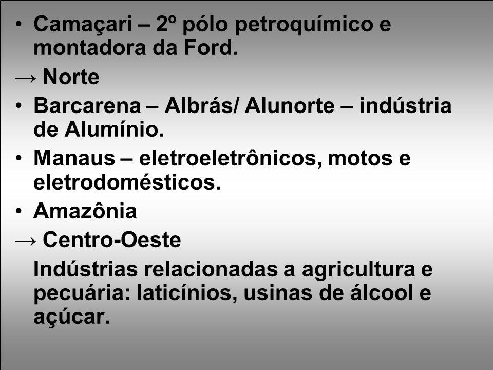 Camaçari – 2º pólo petroquímico e montadora da Ford.